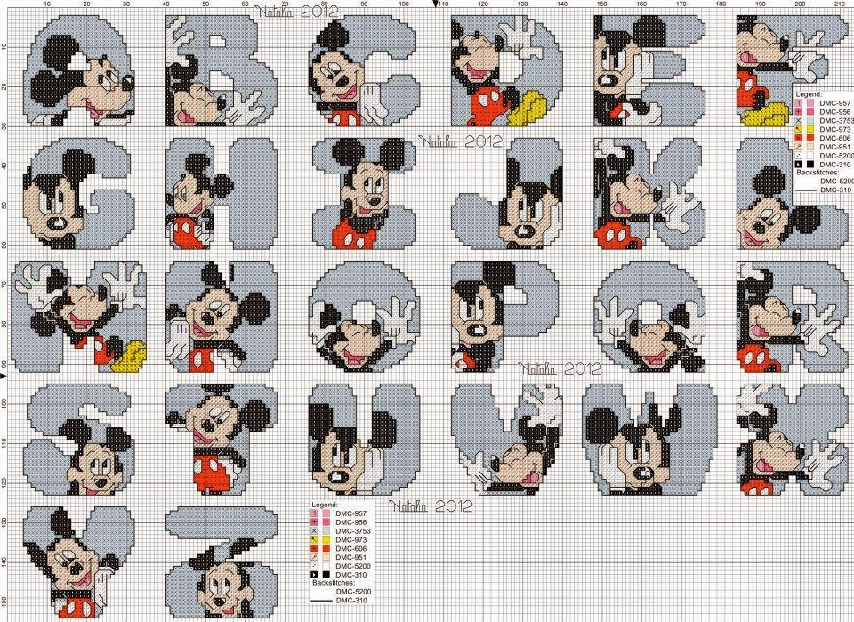 Alfabeto Mickey Lindo   Punto de cruz   Pinterest   Abecedario punto ...