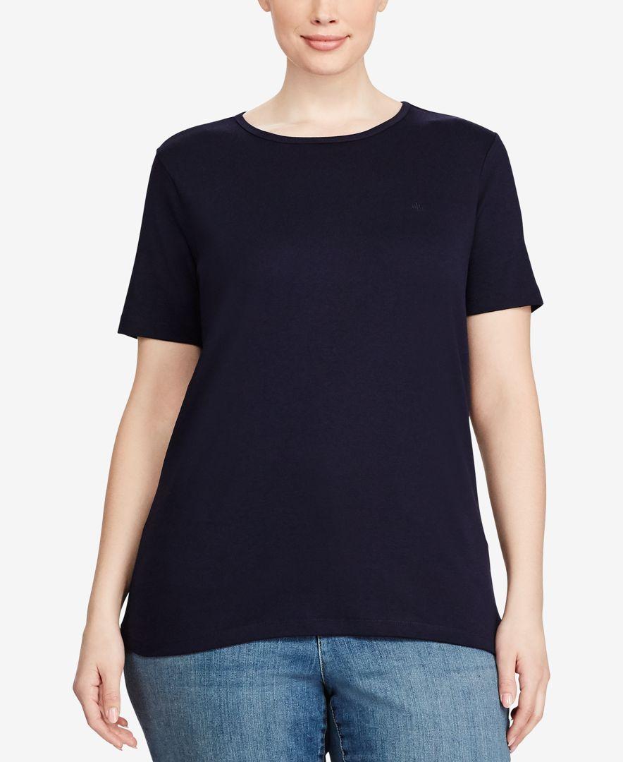 Lauren Ralph Lauren Plus Size Ribbed Crewneck T-Shirt