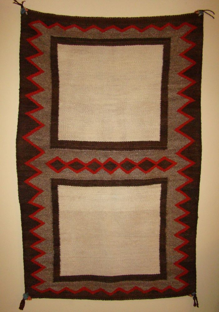 Antique Navajo Double Saddle Blanket White Field Native American Rug