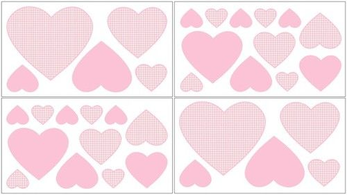 Pink Gingham Wall Decal Stickers For The French Toile Bedding Collections By Sweet Jojo Designs Heart Kids Decals
