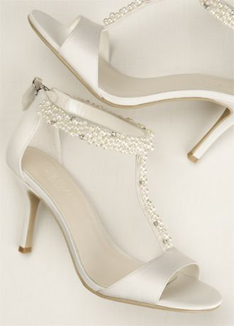 Pearl And Crystal T Strap Sandal David S Bridal Bridal Shoes Low Heel Jeweled Shoes Bride Shoes