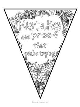 Growth Mindset Pennant Banner Coloring Pages Growth Mindset