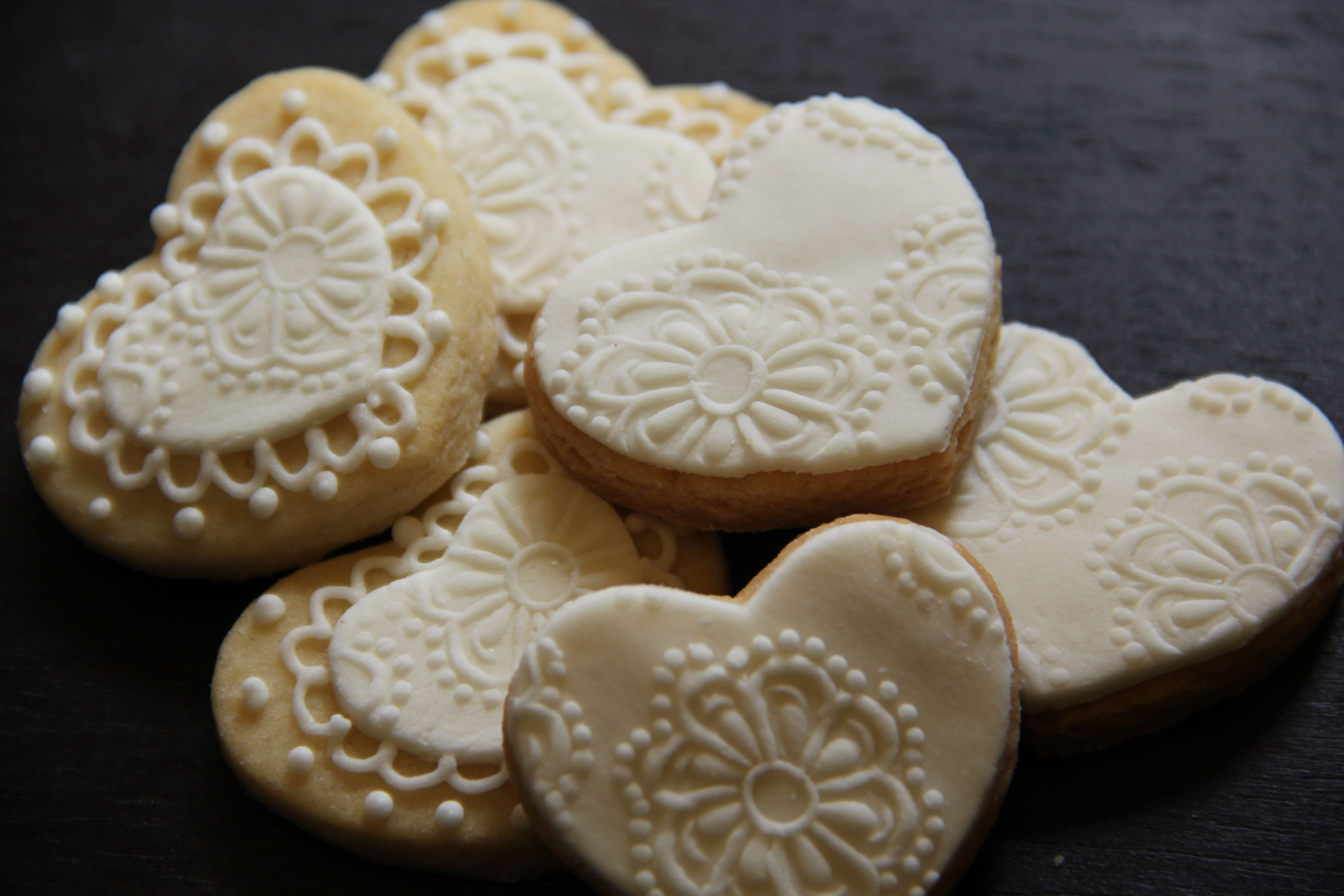 White Lace Valentine Cookies