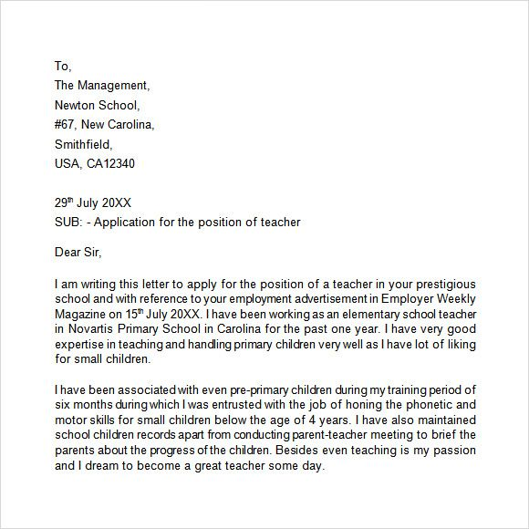 Application Letter Free Samples Examples Format Elementary