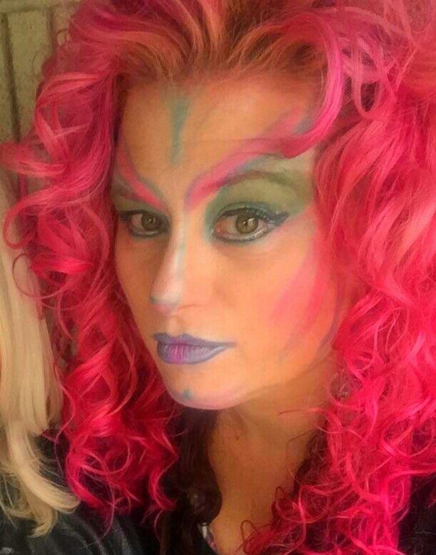 Pink hair,  Halloween makeup