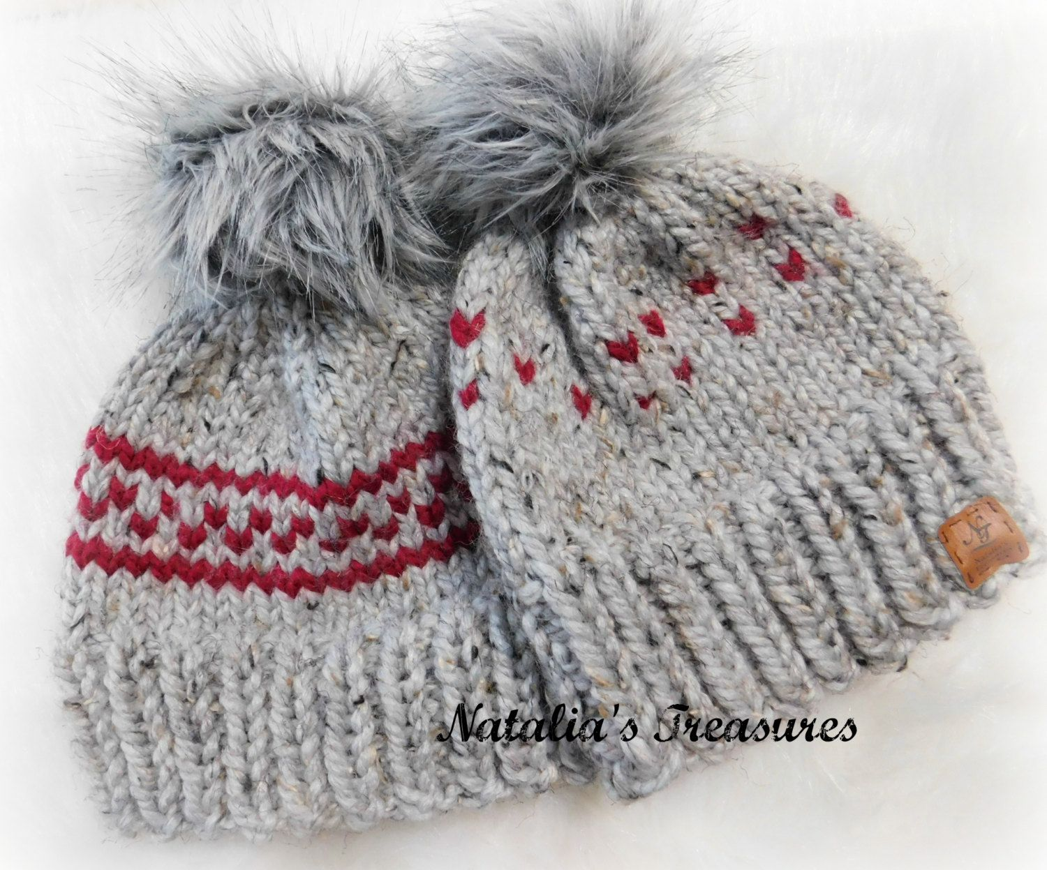 Mommy and me Hats. Matching winter hats. girls chunky hat. Toddler hats for  girls. Unisex hats. Hat with fur faux pom pom. 4e8a0b0ba76