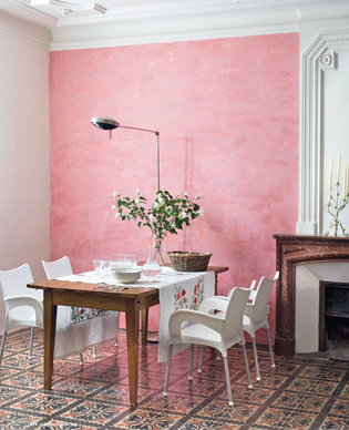 A rosy outlook! #Pink walls #white accents and amazing tile. #design ...