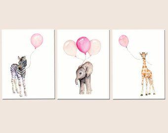 S Nursery Decor Baby Print Set Prints Pink Safari Art Childrens Wall Of Three