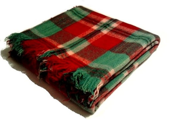 Plaid Wool Blanket Red Green Tartan Throw Handmade Extra Quality 100 Organic Wool Blanke Wool Blanket Hand Woven Blanket Christmas Throw Blanket