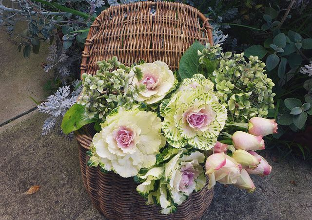 pinks, creams silver grey...with flowering cabbage