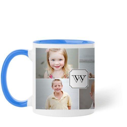 Traditional Monogram Mug, Light Blue, 11 oz, White