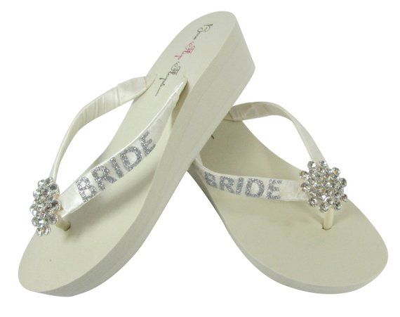 1d586bcb4c6b1 Bride Wedged Heel Flip Flops in Ivory or White- Glitter Bling and Large  Jewel Embellishment