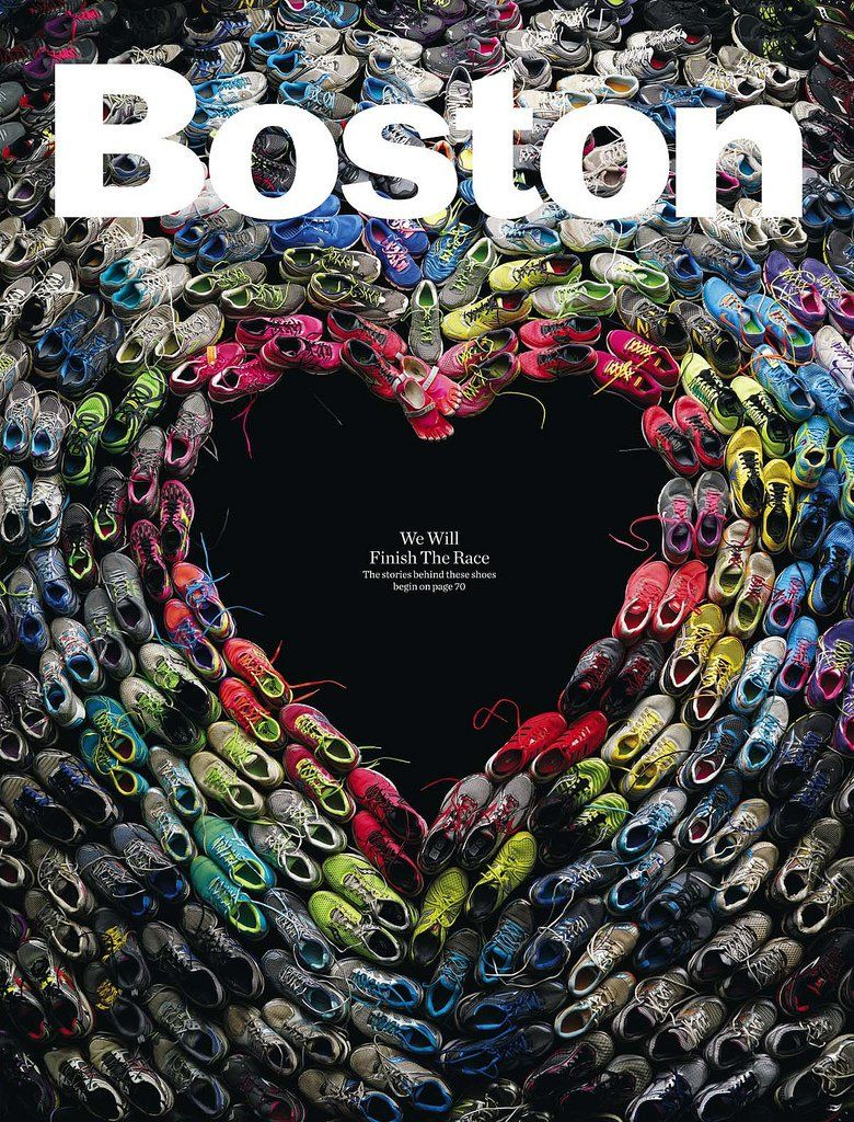 "The design has a good use of contrast between the color of the shoes and the black backdrop. There is a minimal amount of text in this cover but it works well because it's a serious piece and not a lot needs to be said. Minimal text also helps with visual hierarchy because the eye is drawn to the ""Boston"" title and immediately can make sense of the image. The image strongly coveys the subject, the Boston Marathon Bombing, which I want to keep in  mind when designing my cover."