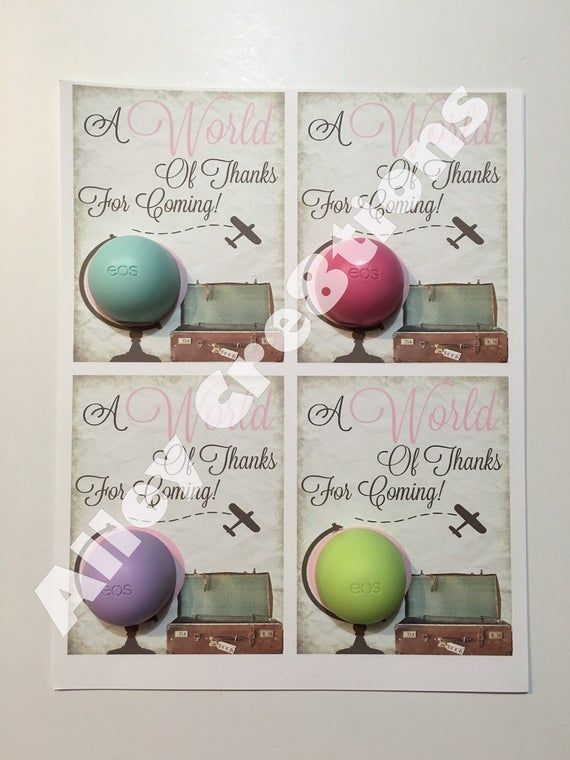 Items similar to DIY Downloadable/Printable EOS Favor Cards World / Globe World Of Thanks, World Traveler, The World Awaits Baby Girl / Pink Shower Themes on Etsy
