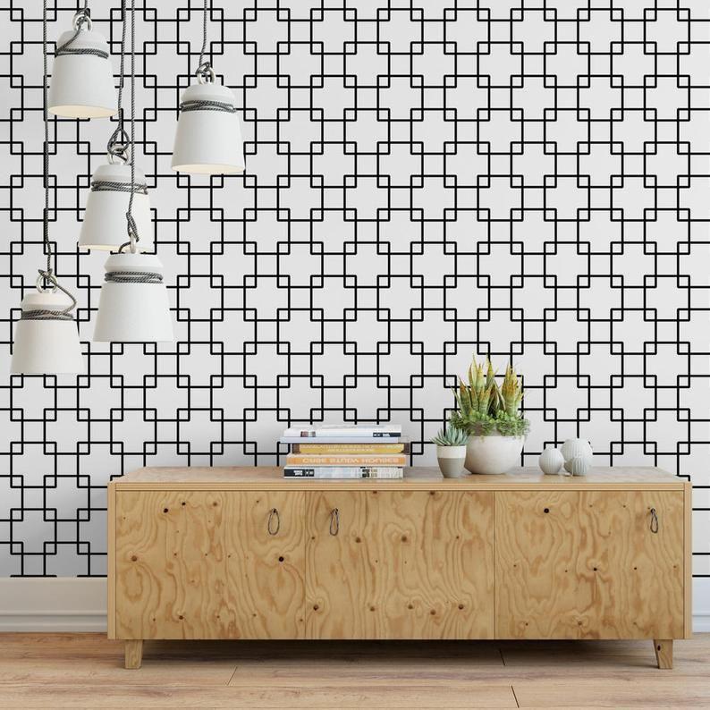 Interlock Squares Removable Wallpaper G144 27 Etsy Removable Wallpaper Furniture Inspiration Wall Design