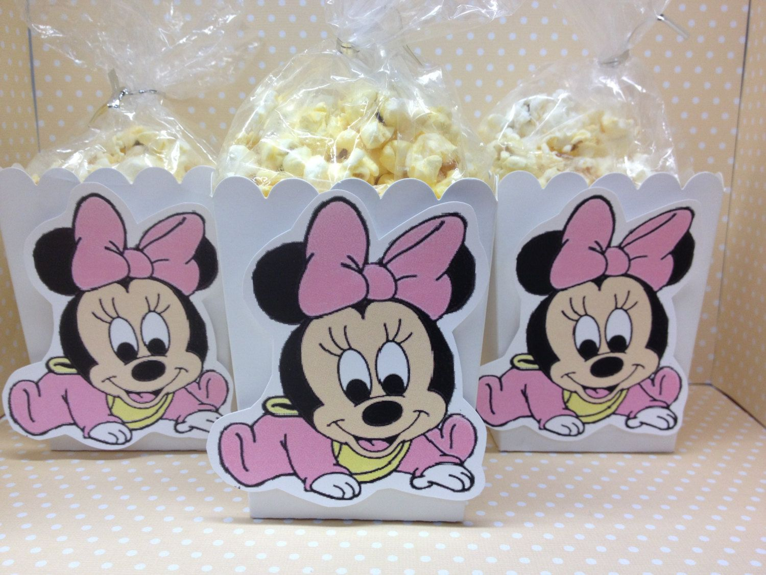 Baby Minnie Mouse Party or Baby Shower Popcorn or Favor Boxes – Set of 10