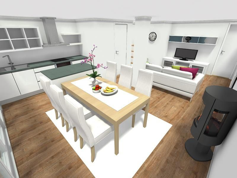 Open Kitchen Floor Plan With Fireplace And Food. By Sanja Matkovic Buble;  #RoomSketcher
