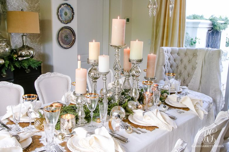 Elegant White And Gold Christmas Dining Room And Table Scape Christmas Dining Table Decor Christmas Dining Room Table Decor Christmas Dining Table