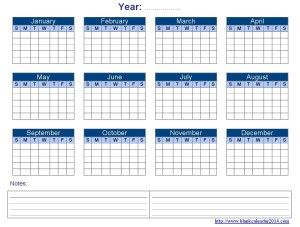 Yearly Blank Calendar Templates  Free Download Editable