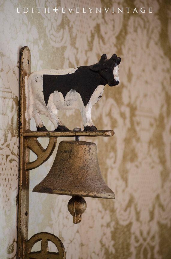 Antique Cast Iron Dinner Bell, Cow, Farm Kitchen