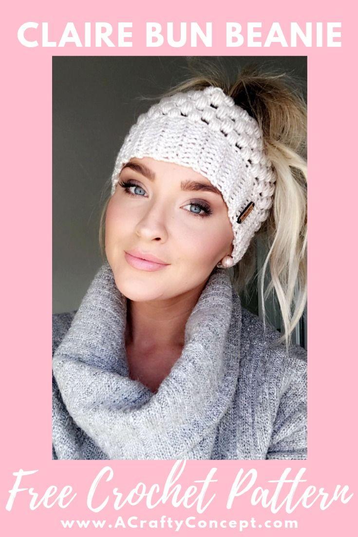 Free Crochet Pattern | Messy Bun Beanie #messybunhat