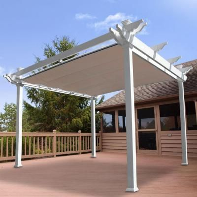 Weatherables Palmetto 12 Ft X 12 Ft White Double Beam Vinyl Pergola With Shade Canopy Ywpg Hdbfx5 12x12 The Home Depot Pergola Shade Vinyl Pergola Pergola