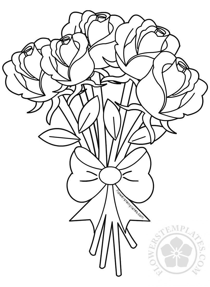 Flower bouquet of roses coloring page flowers templates