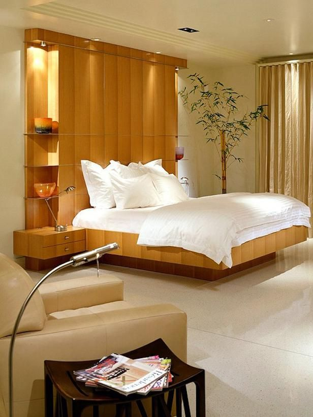 Wandgestaltung Schlafzimmer Holz Regale Kopfteil Einbauleuchten