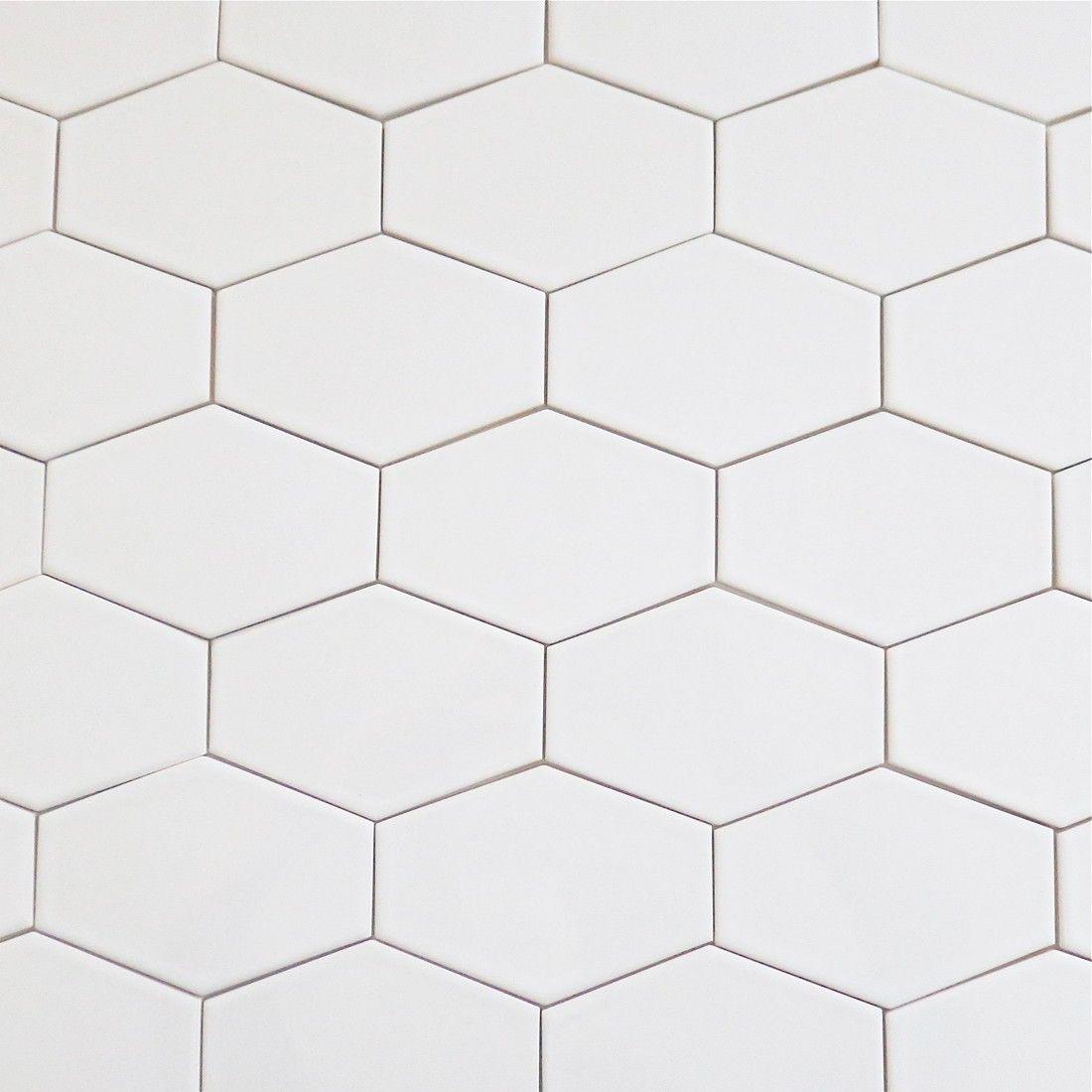 Kiln Ceramic White 5x3 Stretched Hex Tile Milk Modwalls Designer