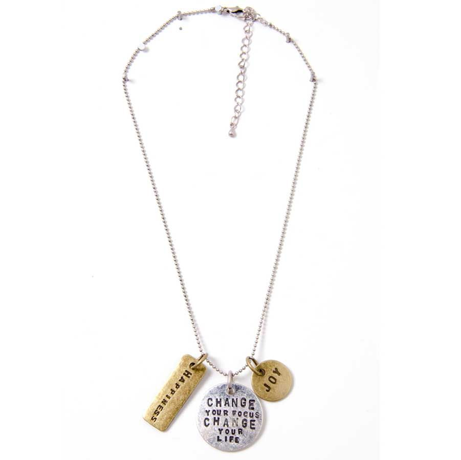 Change Your Focus Change Your Life... Inspirational 3 Tag Necklace