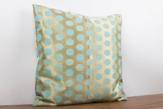 champagne gold tiffany blue polka dot circles decorative throw pillow cover silk pillow 18x18. Black Bedroom Furniture Sets. Home Design Ideas