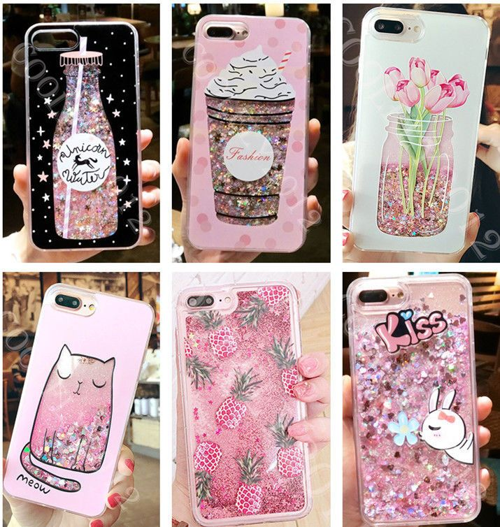 cac45a9355 Girl's Dynamic Liquid Glitter Quicksand Phone Case Cover For Iphone ...