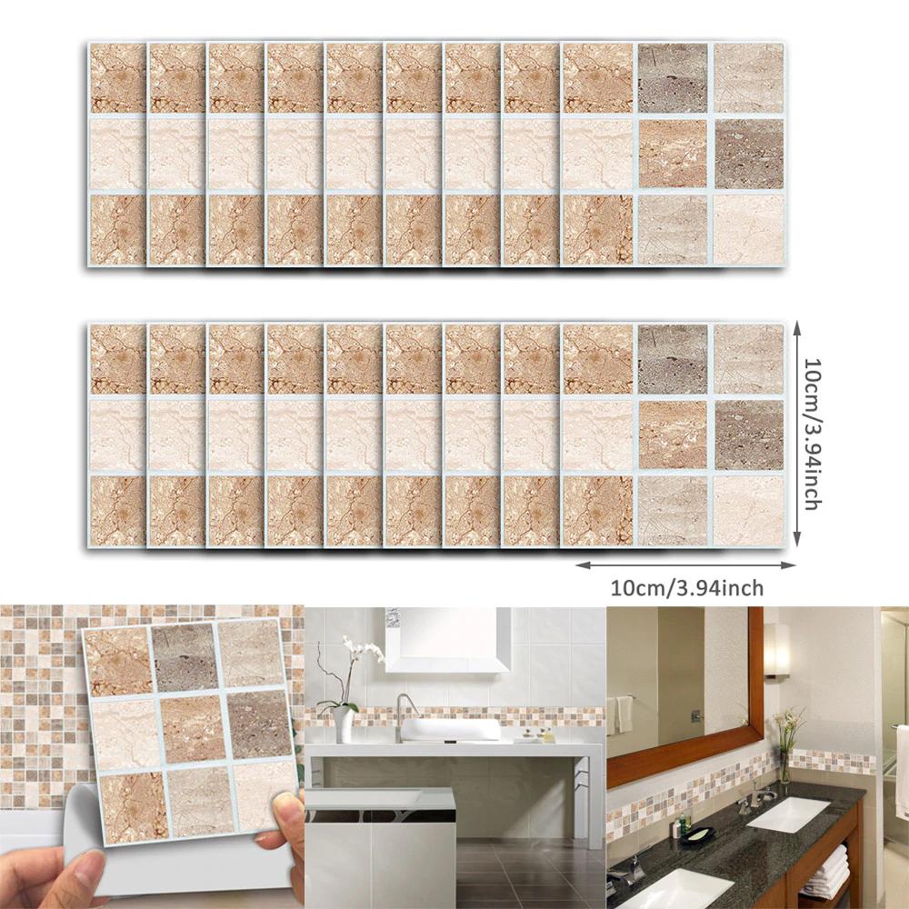 18pcs 10x10cm Self Adhesive Waterproof Black Marble Mosaic Wall Art Kitchen Furniture Tile Sticker Wall Decal Wall Sticker 2019 Kitchen Wall Art Mosaic Wall Art Mosaic Wall
