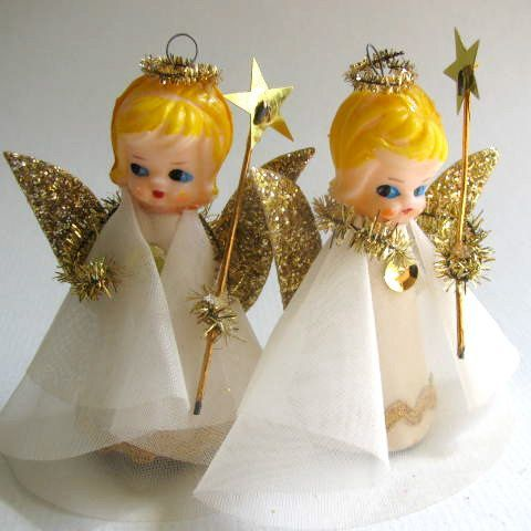 Set Of Two Vintage Angel Ornaments Tree Decorations Glitter Holiday Decor Christmas