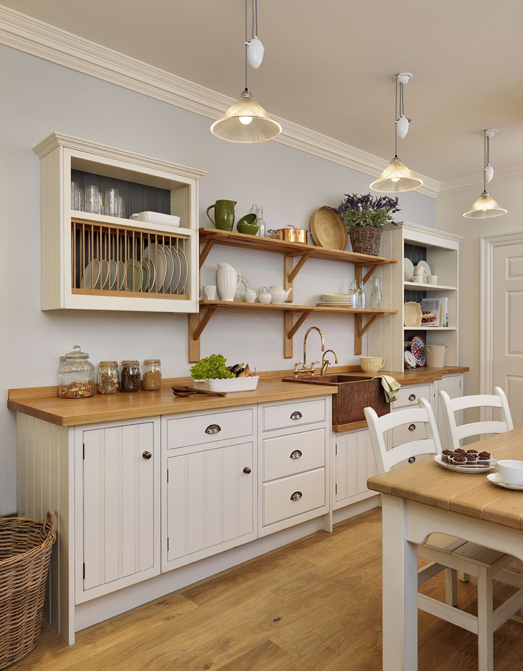 Cabinets!!! English Cottage Kitchen Rustic Painted White With A