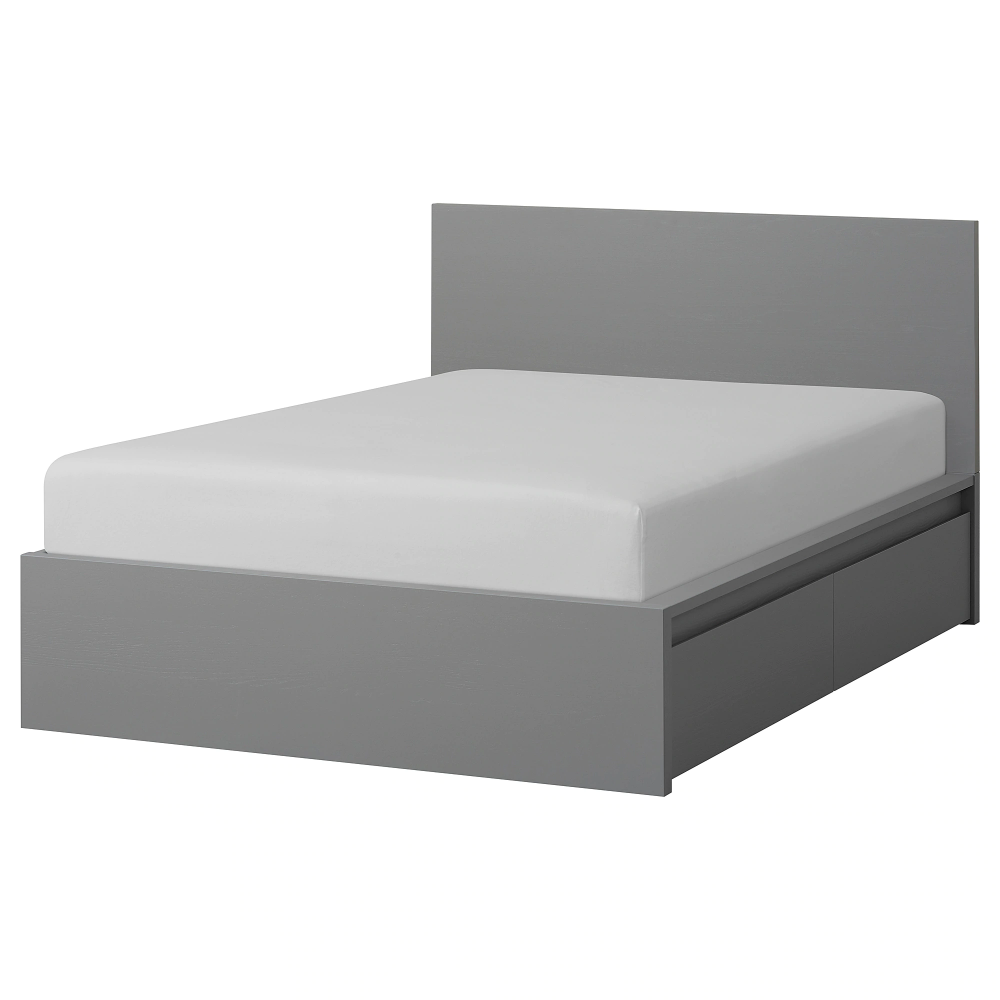 Ikea Malm High Bed Frame 2 Storage Boxes Gray Stained High Bed