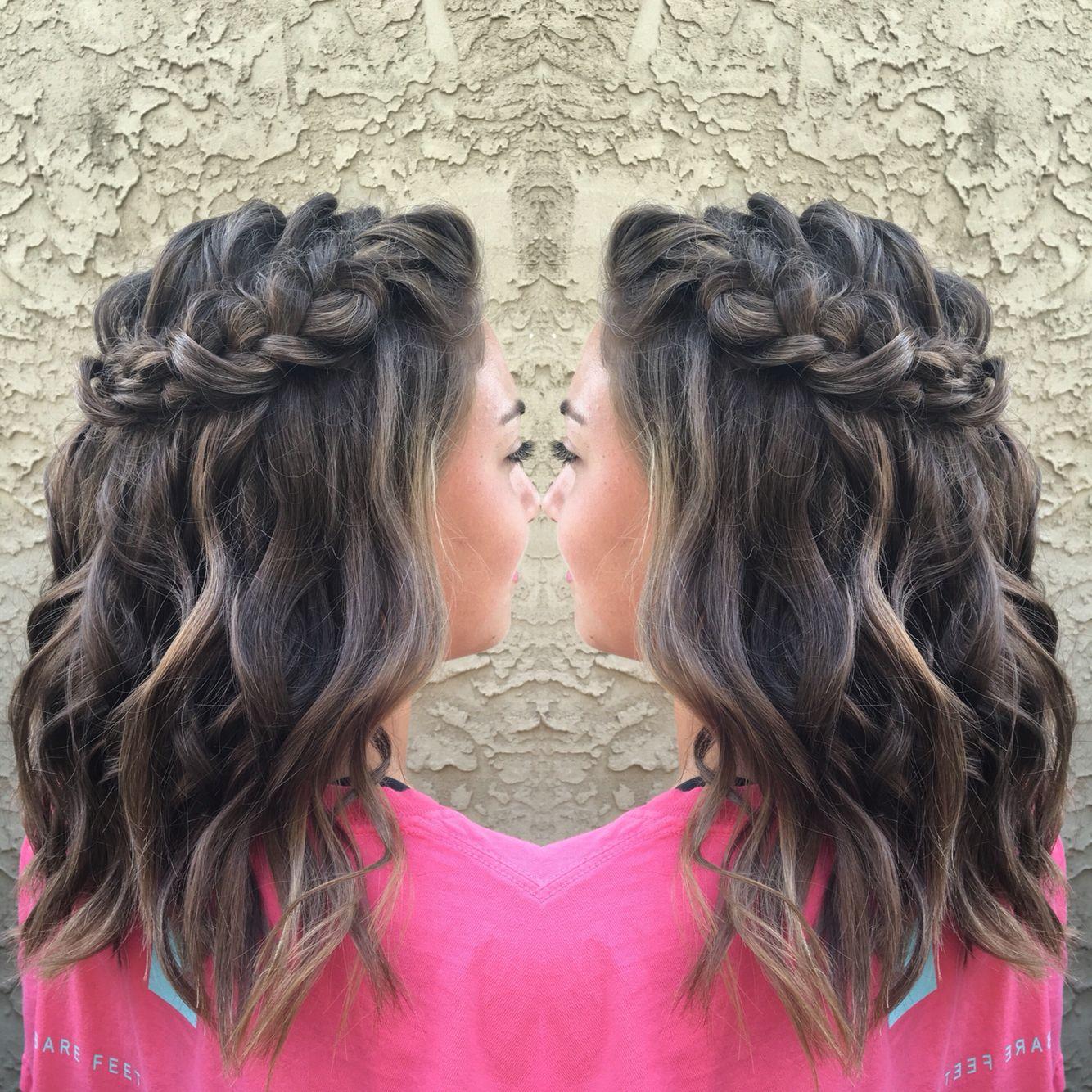 Homecoming Hairstyle Half up half down Short Medium Lob Waves