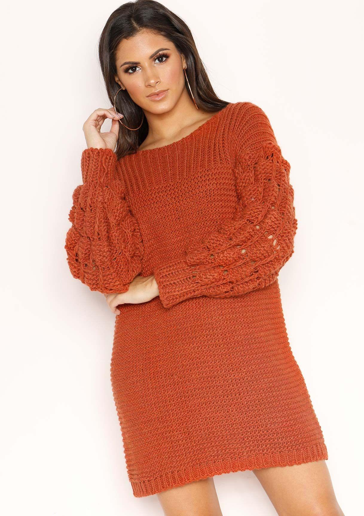 Fern Rust Chunky Knit Jumper Dress #chunkyknitjumper