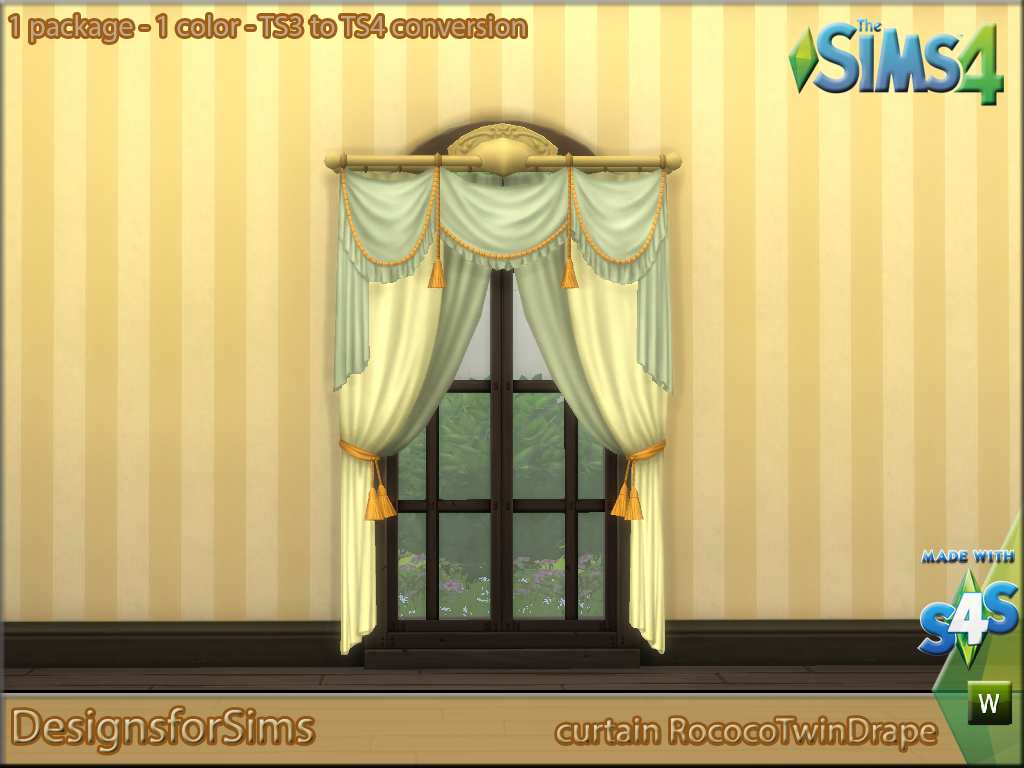 ts3 to ts4 conversion curtain rococo twin drape. Black Bedroom Furniture Sets. Home Design Ideas