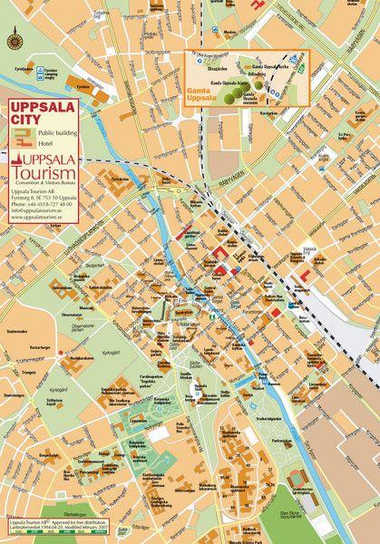 Uppsala Tourist Map Uppsala Sweden Mappery Sverige Karta