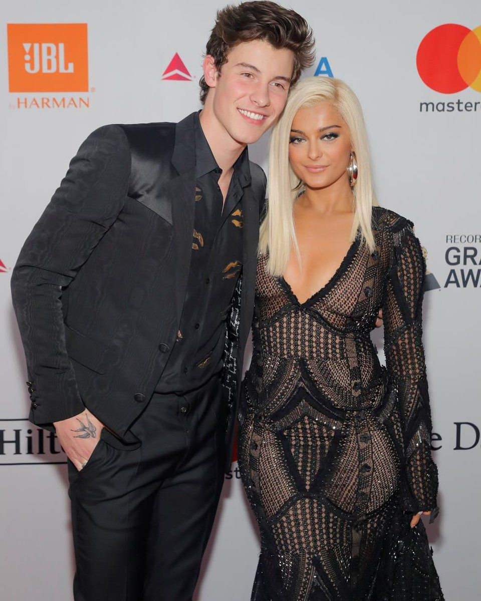 Shawn Mendes and Bebe Rexha at 2018 Pre-Grammy Gala and ...