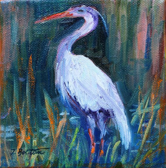 Crane Grey Heron Gray Heron Original Oil by ingridspaintings, $39.00