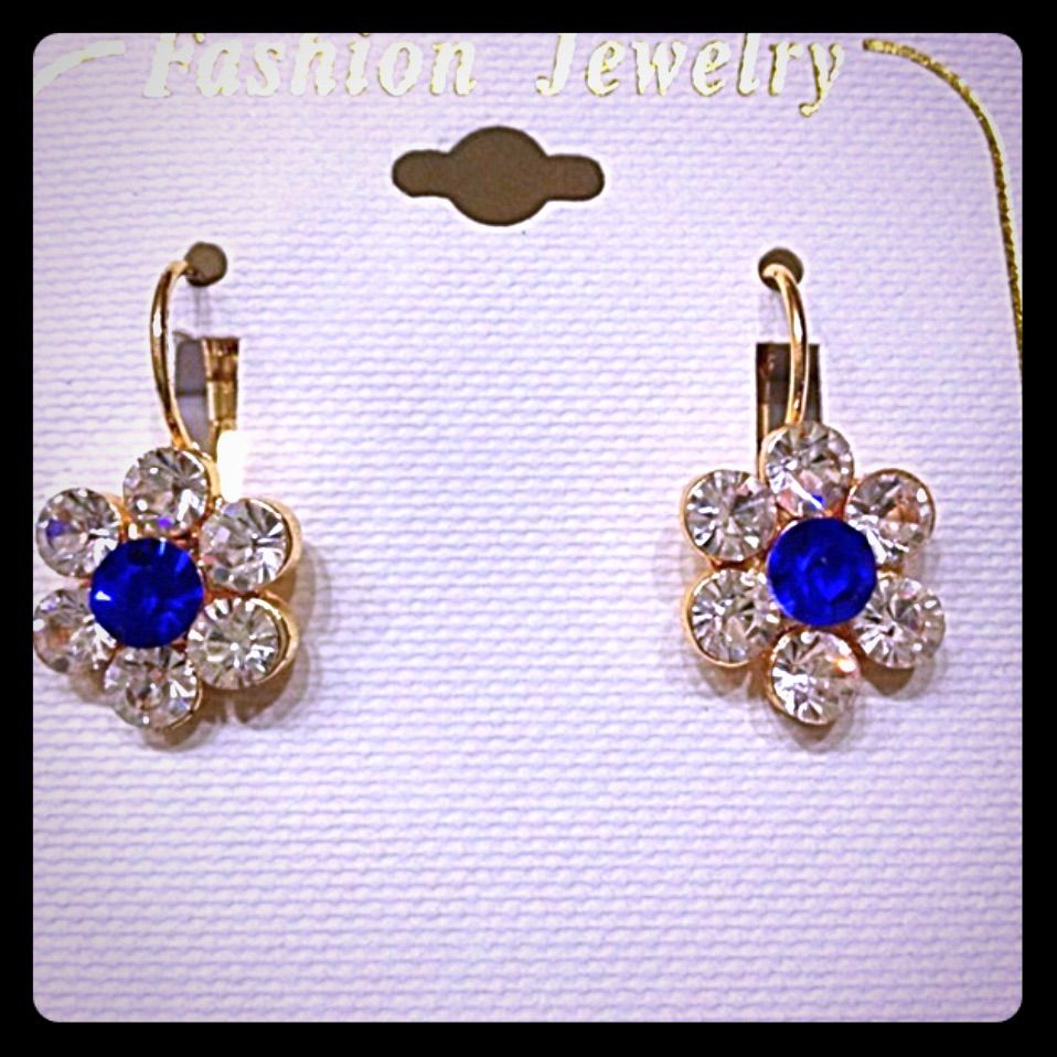 Gorgeous Flower White And Blue Earrings