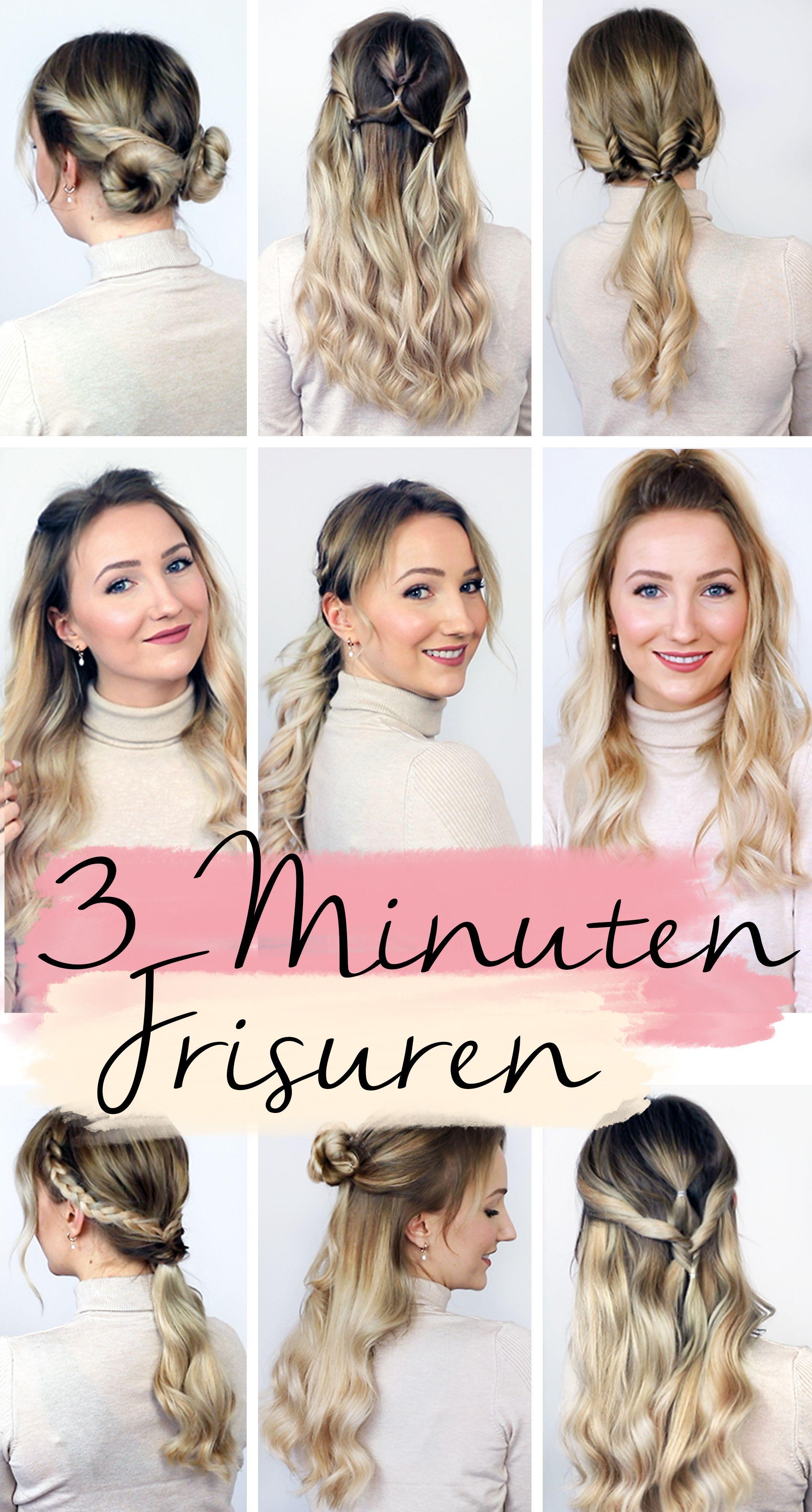 3 minute hairstyles in 3  Hair styles, Short hair styles, Long