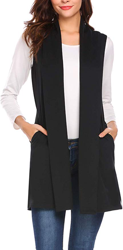 Beyove Womens Long Vests Sleeveless Draped Lightweight Open Front Cardigan Layering Vest with Side Pockets