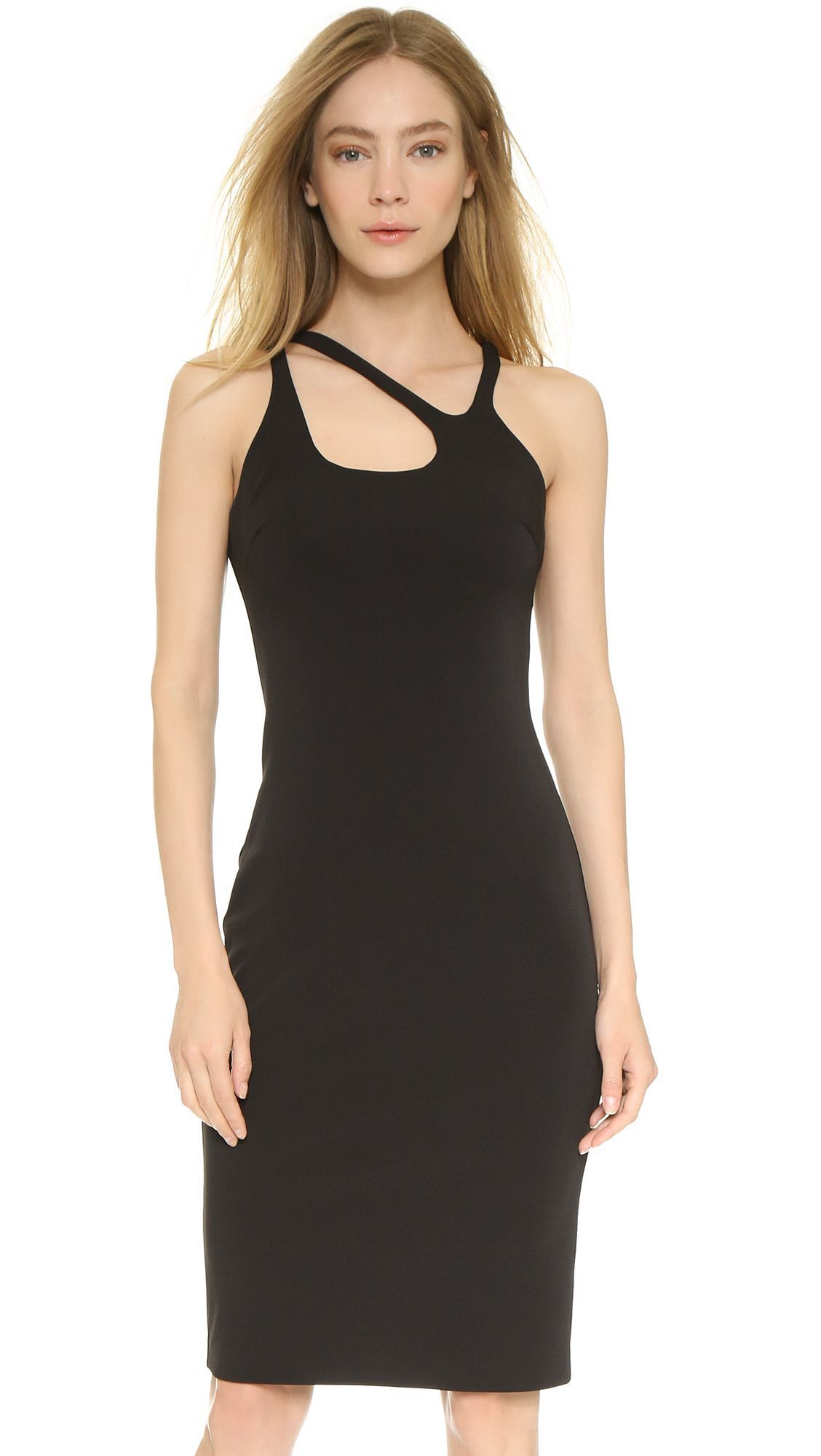 Halston Heritage Fitted Dress with Cutout Neckline Size M