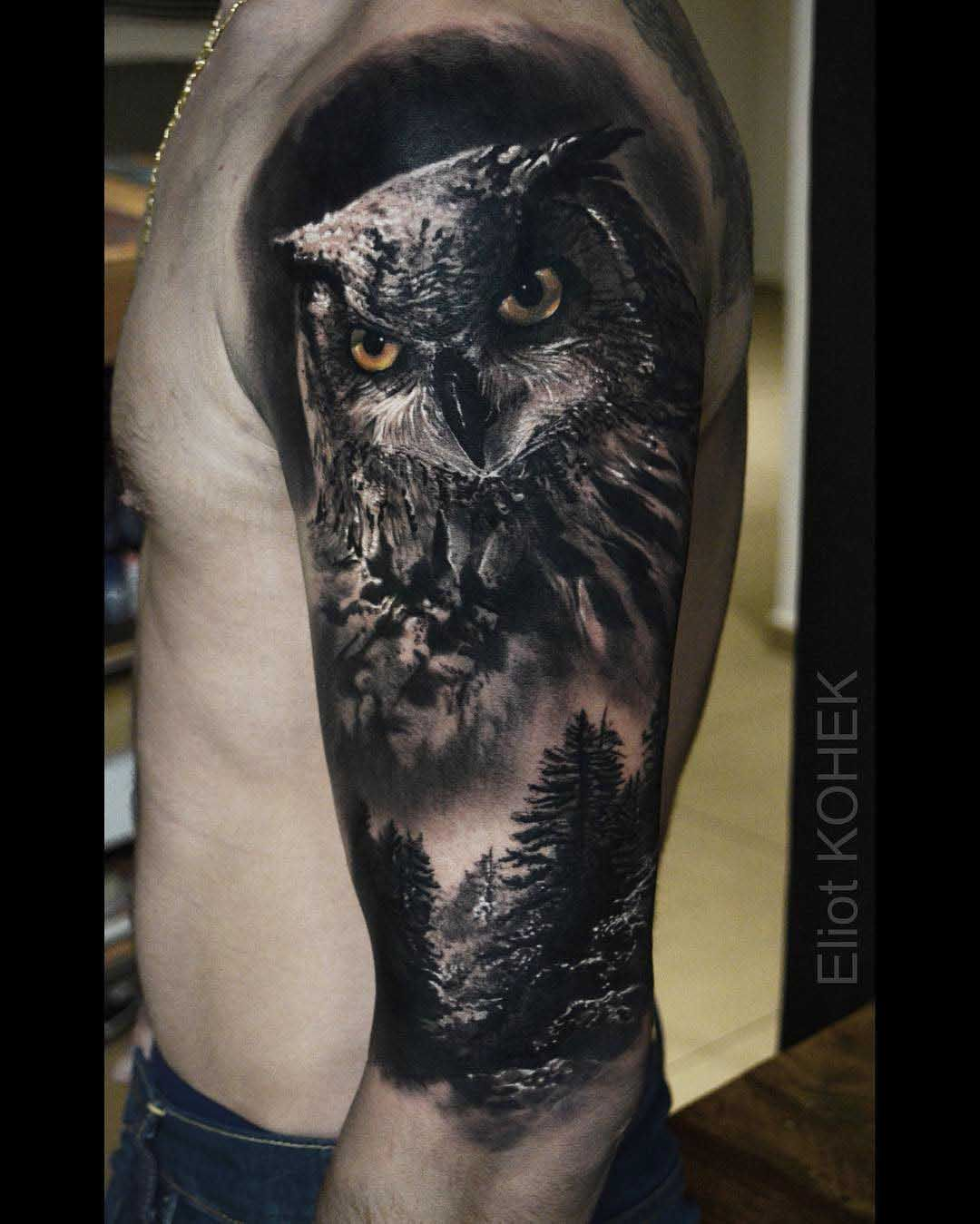 owl tattoo realistic tattoo pinterest tatouage. Black Bedroom Furniture Sets. Home Design Ideas