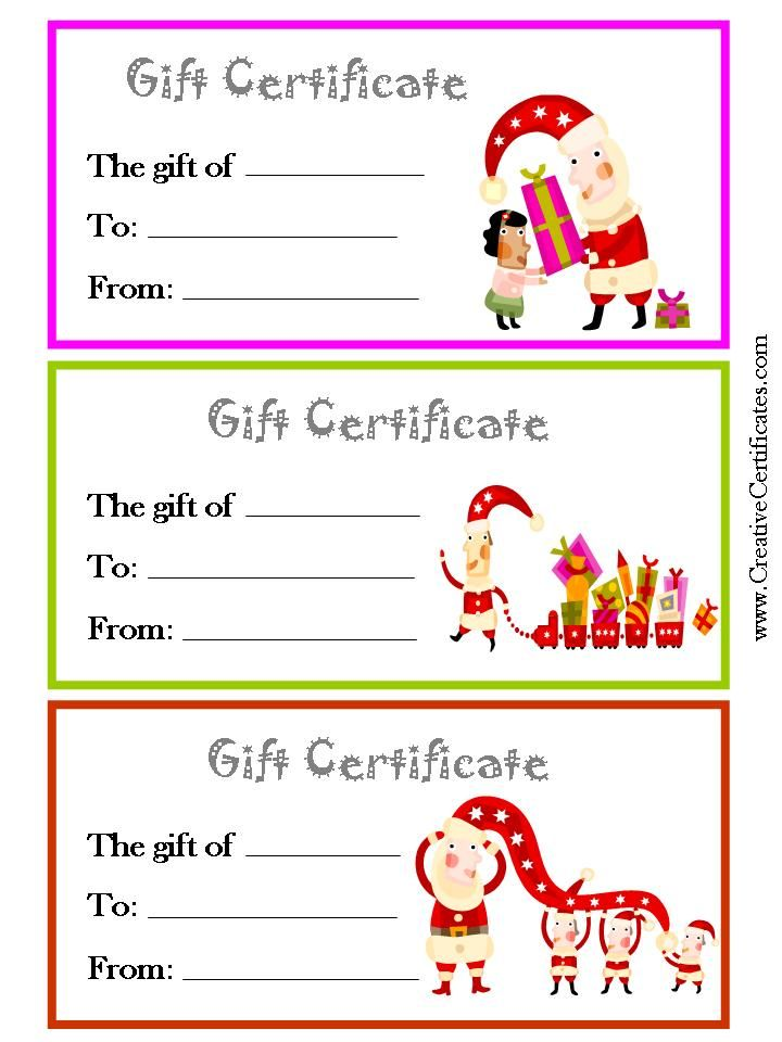 3 printable Christmas gift certificate templates on one page each in