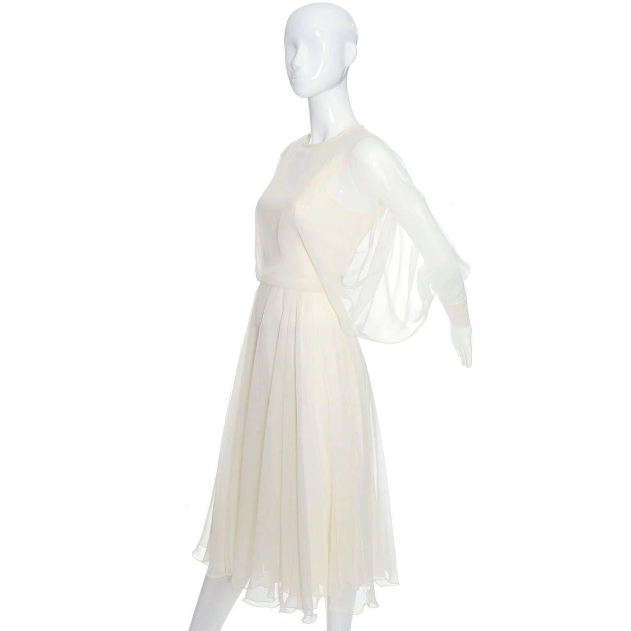 1970s Vintage Jean Varon John Bates Chiffon Designer Dress Batwing Sleeves image 4