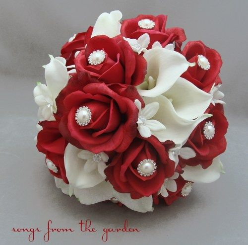 White Bouquet With Red Rhinestones